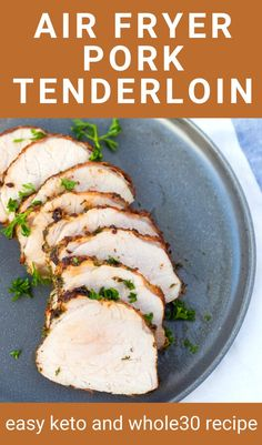 This easy recipe for Air Fryer Pork Tenderloin shows you exactly what cooking time and temperature you need to make a tender pork loin in your air fryer. It can be made in any air fryer or even the Ninja Foodi. A great protein for weeknight dinners that takes 30 minutes or less to cook. Air Fryer Recipes Easy, Fun Easy Recipes, Whole 30 Recipes, Real Food Recipes, Dinner Recipes, Easy Meals, Cooking Recipes, Keto Recipes, Breaded Pork Tenderloin