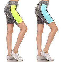 2 Pack Ladies Workout Capris Yoga Shorts For Women Athletic Performance Active Wear Biking Running *** Want additional info? Click on the image.