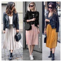 Pleated skirt and black jacket - # jacket # jacket # black # folded - Idee Outfit - Modest Fashion Komplette Outfits, Skirt Outfits, Stylish Outfits, Spring Outfits, Fashion Outfits, Womens Fashion, Modest Fashion, Skirt Fashion, Look Fashion