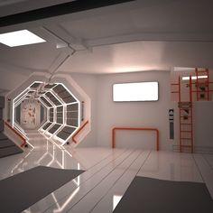 Home Decoration With Paper Craft Info: 6431142542 Spaceship Interior, Futuristic Interior, Spaceship Design, Futuristic Design, Games Design, Sci Fi Environment, Interior Architecture, Interior Design, Cyberpunk