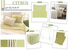Laura Ramsey Furniture & Interiors   Get the Look: Pine Cone Hill Citrus Bedding. #lauraramseyinteriors #bedding #green #citrus #accessories #throws #pillows #duvet #quilt #interior #design #home #decor