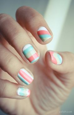 pink, turquoise, white, beige, stripes by cheercrazycass