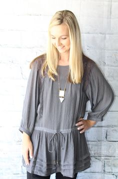 The perfect tunic for our distressed jeggings or fleece lined leggings(only $15) 15% Net Profit donated to The Wellhouse- an organization that rescues women from human trafficking  SHOP NOW www.thread2911.com