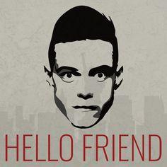 Hello friend. Created by David Fallin. #MrRobot #RamiMalek #GraphicDesign #Vector #Art