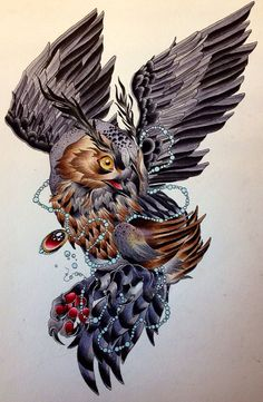 Neo Traditional Owl Tattoo | Neo Traditional Owl Tattoo Flash Top neo whoa images for pinterest ...