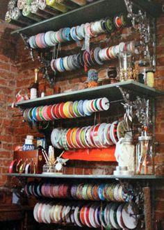 antique shelf brackets to hold ribbon rods