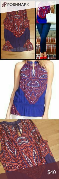 EUC Ella Moss halter top Worn once, as pictured in cover photo, this top is like brand new! It's a size small, but could fit a medium. It's a bit flowy with the elastic waistband. Beautiful bright colors, perfect for spring and fall. Ella Moss Tops Tank Tops