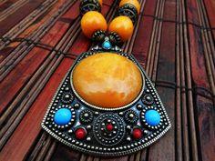 Bohemian Priestess Necklace Ethnic Tibetan Tribal jewelry $35.00, via Etsy.