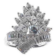 Fancy Cut Diamond Gold Bouquet Ring | See more rare vintage Cluster Rings at http://www.1stdibs.com/jewelry/rings/cluster-rings
