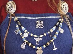 Front of dress, jewellery set-up Vibeke - OMG that fabric...