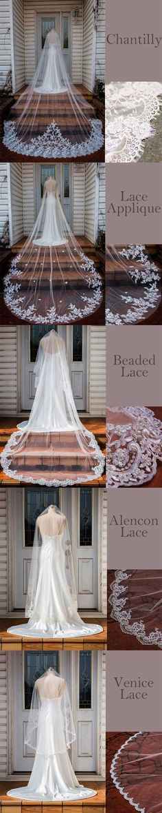 5 kinds of laces on veil, which do you like best? Lace Veils, Bridal Veils, Chapel Length Veil, Cathedral Wedding Veils, Short Veil, Bridal Cape, Bridal And Formal, Wedding Colors, Wedding Inspiration