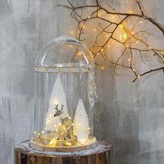 Woontrend najaar 2015: onder een glazen dakje! Is het niet een leuk tafereeltje? #kerst #stolp #glazenstolp #verlichting