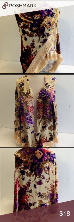 """Velvet Burnout Boho Victorian Fringed Shawl Buttery cream background with cream fringe, measurements are 93"""" x 54 x 54"""" colors are purple, wine and burnished beiges. Gorgeous and seems larger than most. Accessories Scarves & Wraps"""