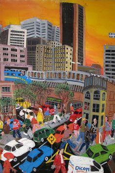 Sébastien Moreau is an acrylic on canvas artist represented by the Shayne Gallery. Sébastien Moreau est une artiste représenté par la Galerie Shayne . Naive Art, Times Square, Sculptures, City, Artwork, Painting, Travel, Artist, Voyage