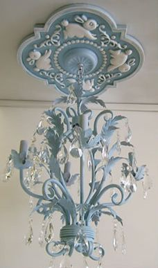 Bunny Chandelier Medallion by Marie Ricci. Shown in distressed powder blue with coordinating powder blue chandelier ($375). All available at www.mariericci.com $145