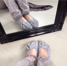 Grey Cosy Slipper Socks and Lux-pjs Leglook