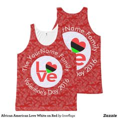 African American Love White on Red All-Over Print Tank Top