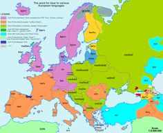 The word for bear in various European languages