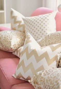 neutral chevron on a pink couch... Would be adorable on a coral or sea foam green colored couch