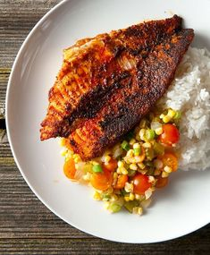 Louisiana blackened catfish, served with Cajun succotash, called maque choux. Recipe from Hunter Angler Gardener Cook. Grilled Fish Recipes, Tilapia Recipes, Salmon Recipes, Seafood Recipes, Baked Catfish Recipes, Shellfish Recipes, Food Network Recipes, Cooking Recipes, Healthy Recipes