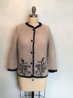 1960's robin's egg blue 2 D floral border print cardigan now in my Etsy shop https://www.etsy.com/listing/516555587/early-1960s-robins-egg-blue-cardigan