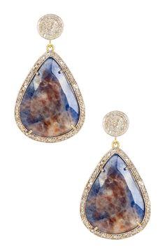 Rivka Friedman Blue Sapphire & White Diamond Freeform Dangle Earrings