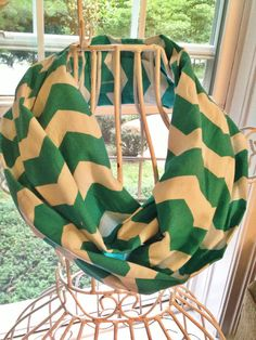 Green and gold chevron scarf.