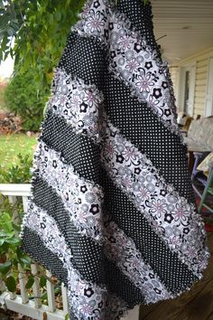 Rag Quilt Flannel Black and White Teen Funky Classic Rag Throw Quilt. $120.00, via Etsy.