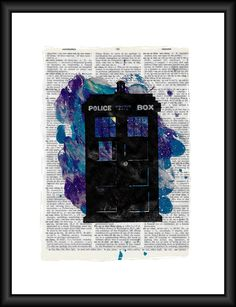 Doctor Who TARDIS Pop Art Print- Book Page Art, Nerdy Gifts, Police Call Box, Whovian, Doctor Who Art by Papyrusaurus on Etsy