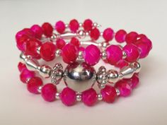 Hot Pink/Red and Silver Custom Coil by PeacocksandLeopards on Etsy, $23.00