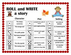 Have students roll a dice to create September/ Fall /Autumn themed story to practice writing in a fun and creative way. Class Activities, Holiday Activities, Reading Activities, Kindergarten Activities, 3rd Grade Writing, Writing Practice, Roll A Story, Digital Citizenship, Kindergarten Class