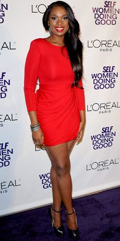 For the Self Women Do Good Awards, Hudson added sexy ankle-strap platforms and loads of diamante sparkle to her little red dress.