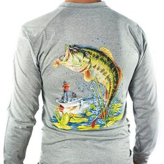 bccd1d99551d9b All-American Fishing Ultimate Dri Fit Fishing Shirt UPF 30+ Men s Long  Sleeve - Bass Gray - CY129B0G1FT