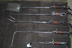 Hand forged BBQ tools. Not big on the bull heads though.