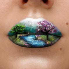 Lip Makeup Art - Makeup Tips Unique Makeup, Cute Makeup, Makeup Art, Lip Makeup, Beauty Makeup, Fairy Makeup, Mermaid Makeup, Makeup Geek, Lipstick Designs
