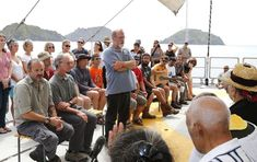 Original crew member Steve Sawyer speaks onboard the new Rainbow Warrior on her first visit to New Zealand visits Matauri Bay Northland January 9 2013 at the resting place of the original Rainbow Warrior which was bombed by French secret service agents in Auckland in 1985 C GREENPEACE  MARPLE