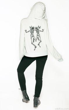 Wildfox Daisy's Girls Skeleton Dance Malibu Zip Up Sweatshirt