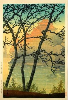 Kawase Hasui: Early Morning at Okayama Castle - Japanese Art Open Database Japanese Drawings, Japanese Prints, Japanese Woodcut, Ligne Claire, Japanese Painting, Landscape Prints, Japan Art, Woodblock Print, Chinese Art