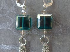 Silver Chain Earrings with Emerald Green real Swarovski Crystals - bevel cut faceted, dangle silver chains by MEDICINAdesigns, $49.99