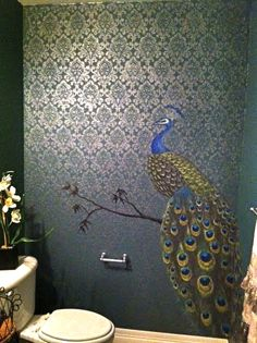 Hand painted stencil with peacock