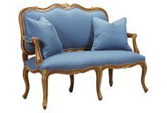 Pierre  Love Seat, Blue