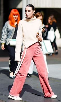 Pink corduroy trouser trend: Street style