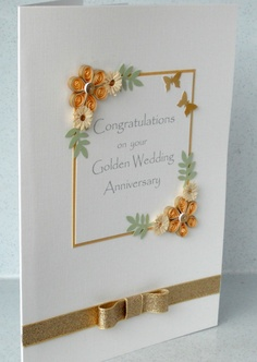 50th anniversary card, quilled golden wedding. £6.00, via Etsy.