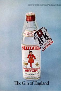 Beefeater London England Gin Bottle (1971)