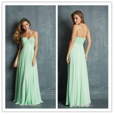Fresh 2014 Mint Prom Dresses new designer sweety long ladies'  sepcial occasion gowns party evening gown With handmade flowers $88.55