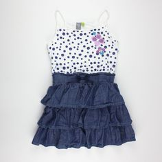 Petit Lem dress, polka dot dress, dress for girls, chambray dress