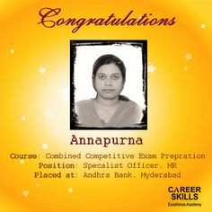 One more #feather added to our hat. We are happy to announce one of our student have got placed at Andhra Bank for the post of Specialist Officer(HR)