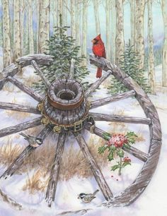 Western Snow Christmas Cardinals and Wheel by Donna Race