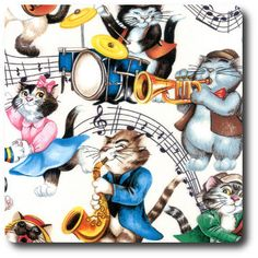 Cats dancing and playing musical instruments. Dancing Cat, Cats Musical, Novelty Fabric, Musical Instruments, Musicals, Whimsical, Disney Characters, Fictional Characters, Dance