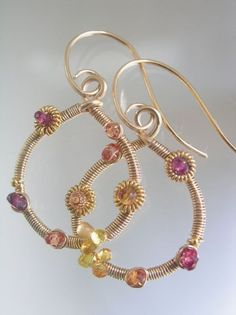 Warm like the Sun in Spring...Orange Sapphire Ruby Spinel Studded Gold Filled Signature Original Teardrop Hoop Earrings...really small. $80.00, via Etsy.